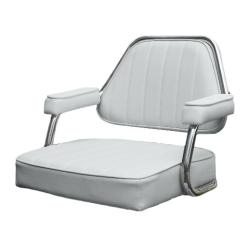"Seat helm ""Dakota"" White artificial<br/>leather upholstery fixed Armrest &<br/>backrest"