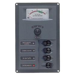 Panel 900-AM 12V 4 breaker<br/>Vertical mount with analog meter<br/>