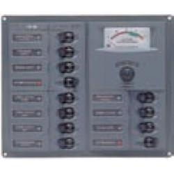Panel 902-AM 12V 12 breaker<br/>Square mount with analog meter<br/>
