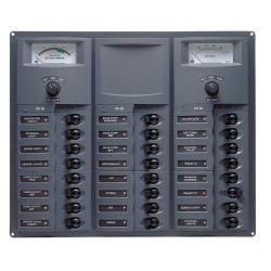 Panel 905-AM 12V 24 breaker<br/>Square mount with analog meter<br/>